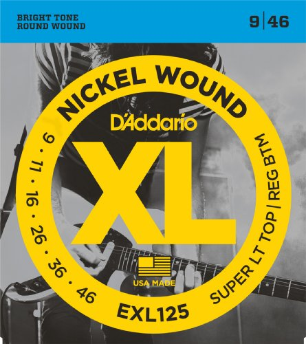 (D'Addario EXL125 Nickel Wound Electric Guitar Strings, Super Light Top/ Regular Bottom, 9-46)