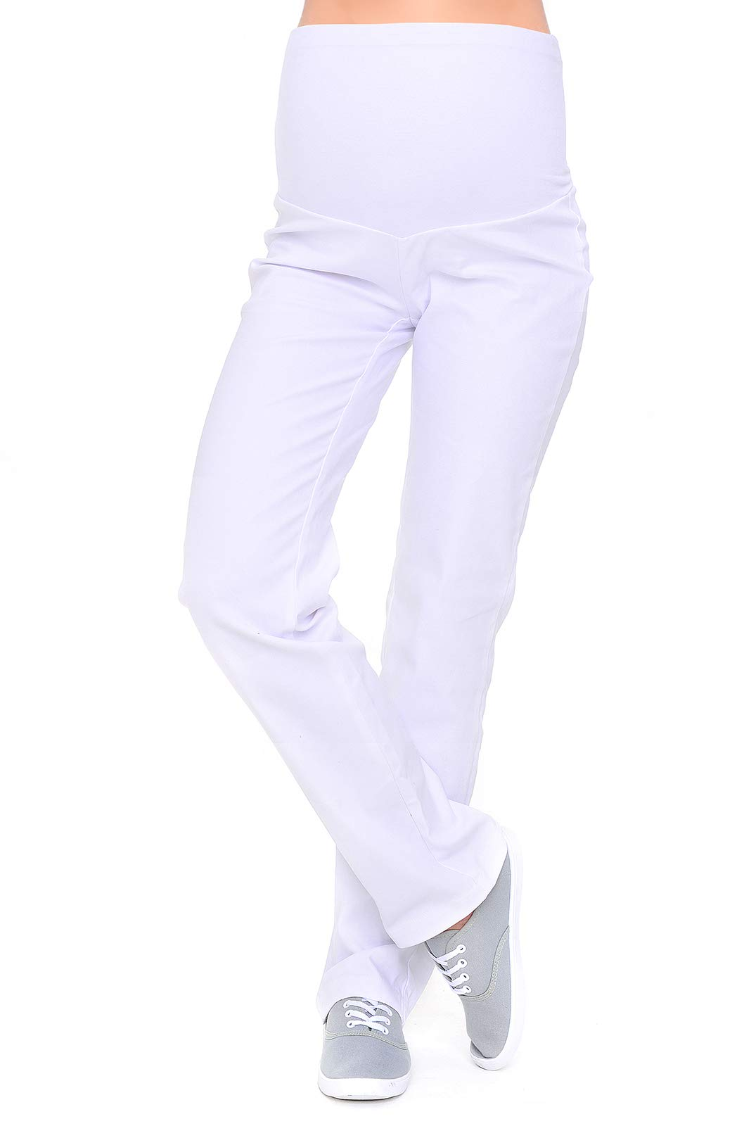 Mija - Maternity Trousers / Jeans classic straight cut Denim Over Bump 3014 (10, White)