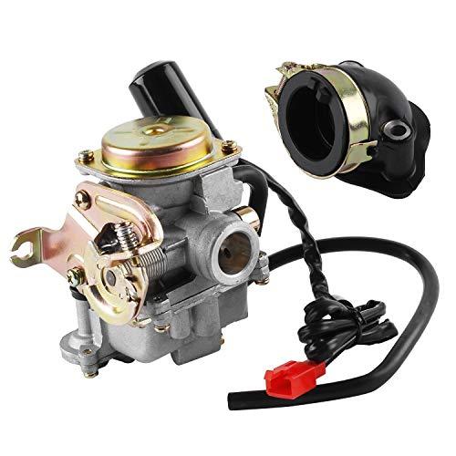 Wilktop Carburateur, 50cc Carburateur 18mm Vervangende Carburateur Met Inlaatspruitstuk Geschikt voor Rex RS 400 / RS…
