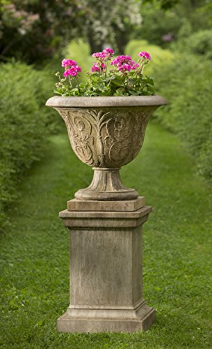 Palais Arabesque Urn with Pedestal, Copper Bronze Finish Copper Pedestal Planter