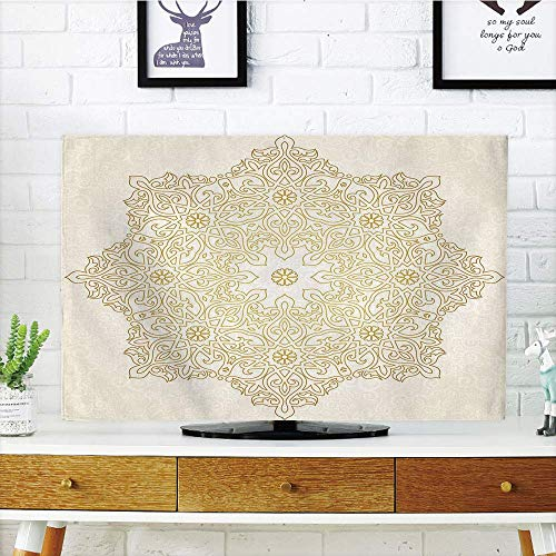 VAMIX LCD TV Cover Multi Style,Gold Mandala,Antique Lace Pattern Blooming Asian Garden Theme Filigree Style Traditional Decorative,Coconut Gold,Customizable Design Compatible 42