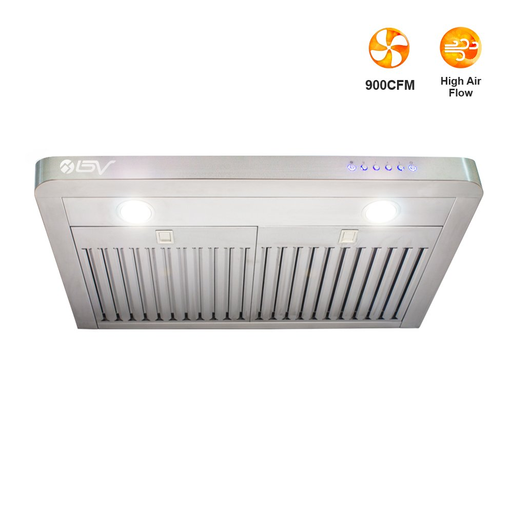 BV High Airflow (900 CFM) Seamless Stainless Steel 30'' Under Cabinet Ducted Kitchen Range Hood with LED Lights