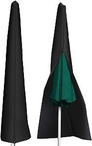 Waterproof 210D Patio Umbrella Zipper Cover fit 9ft to 11ft Umbrellas Canopy Patio Garden Outdoor (Black)
