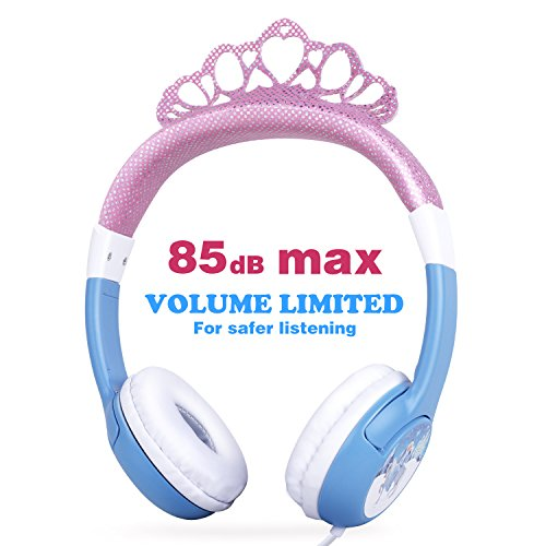 OneOdio Kids Over Ear Headphones - 85dB Volume Limited Headsets for Children, Durable, Adjustable, Lightweight Earphones with 3.5mm Jack for iPad, Kindle, Computers and Tablet (Crown Headband/Blue) (Dvd Princess Player)