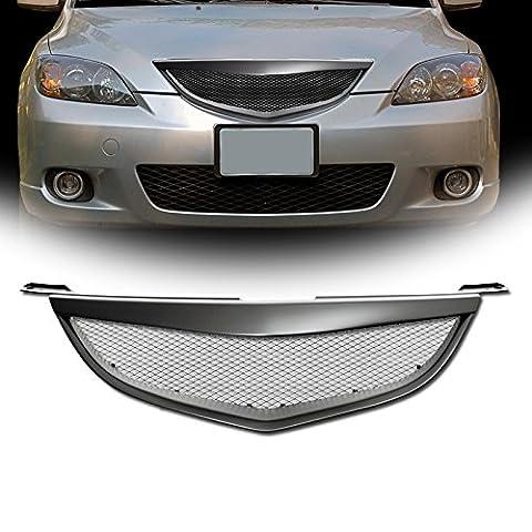 VXMOTOR Matte Black JDM Sport Aluminum Mesh Front Hood Bumper Grill Grille Cover 2004-2006 Mazda 3 Mazda3 4D 4Dr 4 Door Sedan