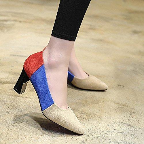 HRCxue Frauen Schuhe hohe Spitzen Stöckelschuhen weiblichen wildes Mädchen frische Farbe einzelne Schuhe weiblichen Hintern dick mit 36