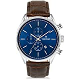 Vincero Luxury Men's Chrono S Wrist Watch — Blue dial with Brown Leather Watch Band — 43mm Chronograph Watch — Japanese Quartz Movement