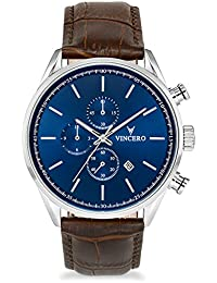 Luxury Men's Chrono S Wrist Watch — Blue dial with Brown Leather Watch Band — 43mm Chronograph Watch — Japanese Quartz Movement