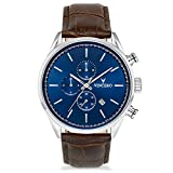 Vincero Men's Chrono S Watch - Blue/Brown with Leather Band
