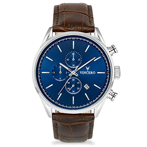 Vincero Luxury Men's Chrono S Wrist Watch — Blue dial with Brown Leather Watch Band — 43mm Chronograph Watch — Japanese Quartz (Chrono Dial)