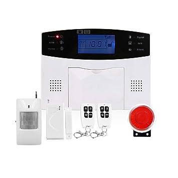 LINANNAV Sistema de Alarma de Seguridad para el hogar gsm SIM Control Remoto con Sensor de Puerta Detector de Infrarrojos: Amazon.es: Electrónica