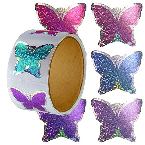 Sparkle Glitter Roll of 100 Butterfly Shaped Stickers