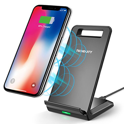 iPhone X Wireless Charger, TECHDOTY 10W Fast Wireless Charger Charging Pad Stand for Galaxy S9/S9 Plus Note 8/5 S8/S8 Plus S7/S7 Edge S6 Edge Plus, 5W Standard Charge for iPhone X/8/8 Plus