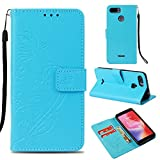Ostop Xiaomi Redmi 6 Wallet Case,Xiaomi Redmi 6A Flower PU Leather Case,Kickstand Card Holder Slots Magnetic Slim Flip Folio Cover Butterfly Floral Embossed Pattern,Light Blue