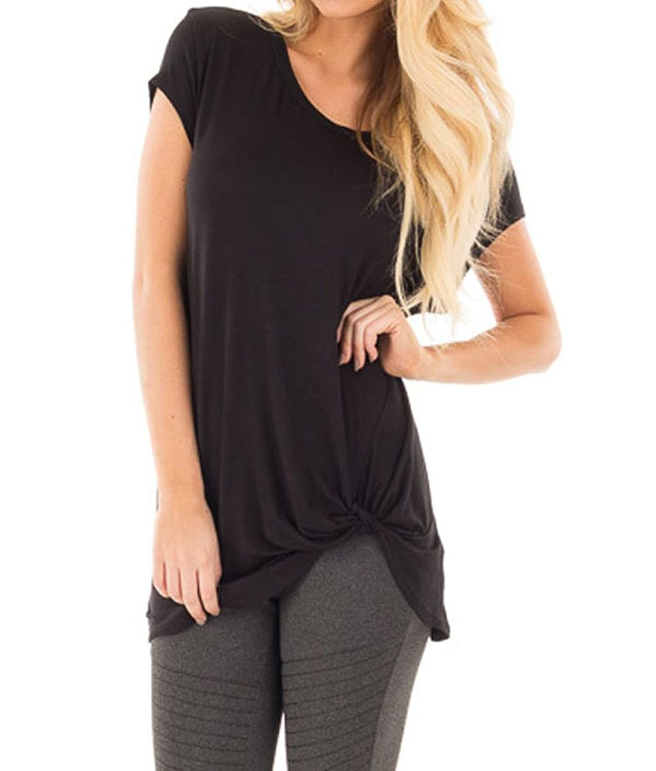 c5d62250e Imported The blouse is very casual design. Soft and comfortable, stretchy,  lightweight, breathable and skin-friendly. Features: Crew neck front knot  loose ...