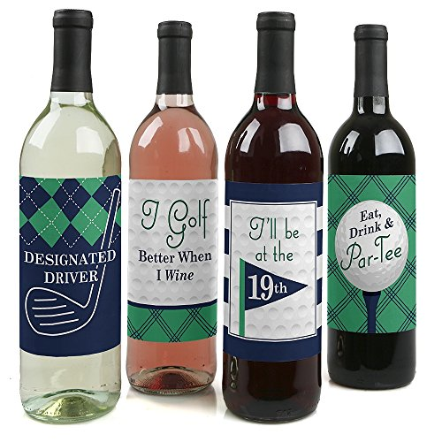 (Par-Tee Time - Golf - Birthday or Retirement Party Birthday Party Gift for Women and Men - Wine Bottle Label Stickers - Set of)