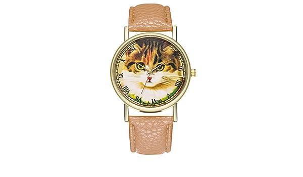 Souarts enamorados pareja reloj cuarzo reloj diseño de gato pulsera de piel artificial Analog escaleras romanos amarillo marrón: Amazon.es: Relojes
