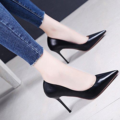 KPHY-El Periodo De Primavera Y Otoño De Cuero Con Una Multa Tacones Altos Una Sexy Zapatos Zapatos De Temperamento De Partido De Ocupacion black