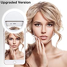 [Upgraded Version] Selfie Ring Light, Leadpo Selfie Light Ring 3-Level Brightness 36 LED for iPhone Samsung Galaxy Sony, Motorola and Other Smart Phones; Clips on Night Ring Fill Light (White)