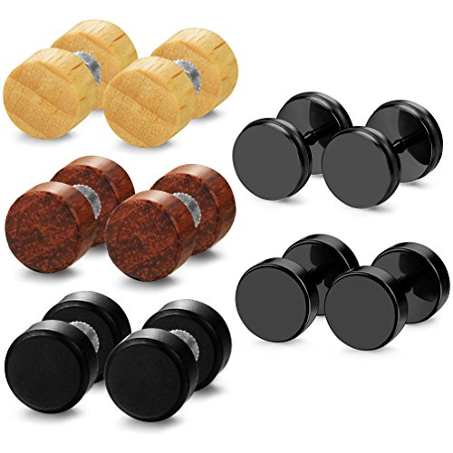 ORAZIO 5 Pairs Wood Fake Ear Plugs Stud Earrings Stainless Steel Screw Earrings Piercing 8mm