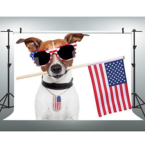 Cool Stripe Dog (VVM 7x5Ft Cool Dog Backdrop Stars and Stripes American Elements Cool Pet Dog Photography Backdrop Photo Studio Photography Background Props Interior Wallpaper GEVV214)