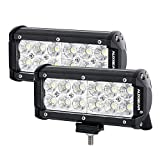 Automotive : Auxbeam LED Light Bar 7 Inch 36W CREE Driving Lights Flood led off road lights waterproof for Jeep Off-road SUV Truck Car ATVs Boats (2 PCS)