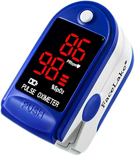 FaceLake FL-350 Finger Pulse Oximeter, with Carrying Case, Lanyard & Batteries, Blue