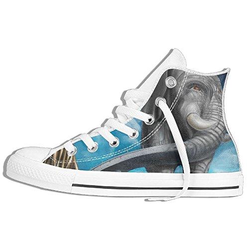 Classic High Top Sneakers Canvas Zapatos Antideslizante Art Elephants Casual Walking Para Hombres Mujeres Blanco