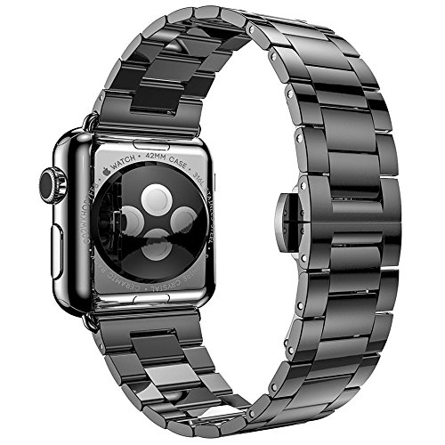 PUGO TOP Replacement Apple Watch Band 42mm for Women Men, Solid Stainless Steel Metal Replacement Classic iWatch Wristband Strap for Apple Watch Series 3/2/1 Sport Edition, 42mm Space Gray