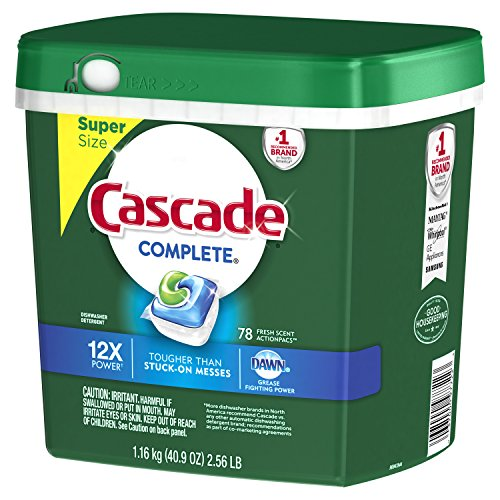 Large Product Image of Cascade Complete ActionPacs Dishwasher Detergent, Fresh Scent, 78 Count