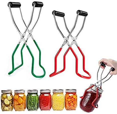Canning Jar Lifter Tongs Set of 2 Red + Green Stainless Steel Jar Lifter with Rubber Grip Handle for Safe and Secure Grip