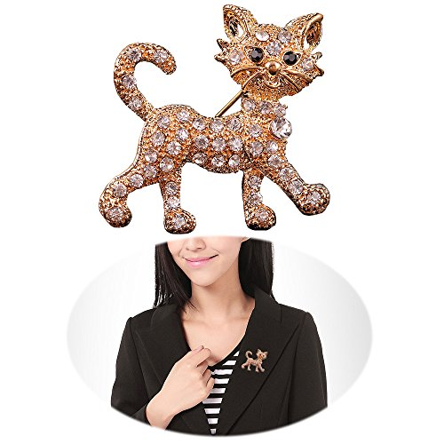 Fashion Cat Pin - Women Punk Rhinestone Brooch Pin - Inlaid Crystal Animal Breastpin - Vintage Elegant Hat Sweater Pin - Catch Scarf or Lapel - Unique Alloy Dress Decor with White Diamond Golden Cat