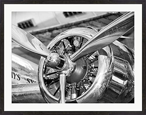 Vintage Airplane Propeller Framed Art Print Wall Picture, Espresso Brown Frames