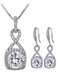 Crystal Jewelry Set for Women - Sterling Silver Square...