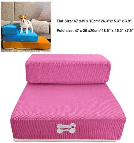 Fashion Orthopedic Dog cat Stairs,Step Comfort Pet Girl Stairs,Protect Pets Joint and Knee for Small Medium and Large Pets Pet Stairs,Removable Pet boy Bed Stairs S, Black