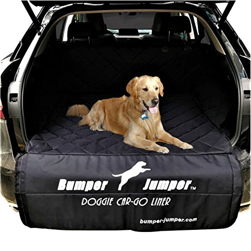 "Bumper Jumper"" Deluxe Doggie SUV Cargo Trunk Liner Cover, DEEP Plush Quilted, Water Proof, Washable, Non Slip Backing, FITS Most SUVs, Protects Bumper from Doggie Scratches. (Measure Your Vehicle)"