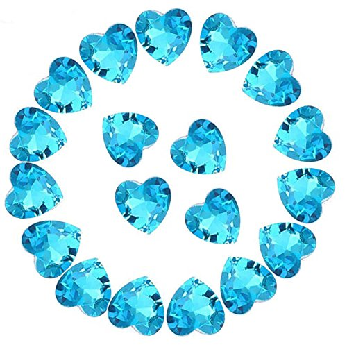 Crystal Rhinestones 50pcs AB Crystals Pointback Heart Glass Rhinestone for DIY Crafts Jewelry Making,12mm,Lake Blue ()