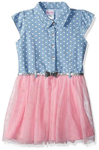 Nannette Girls' Toddler Printed Denim Dress with Glitter Belt and Tulle Skirt, Pink -