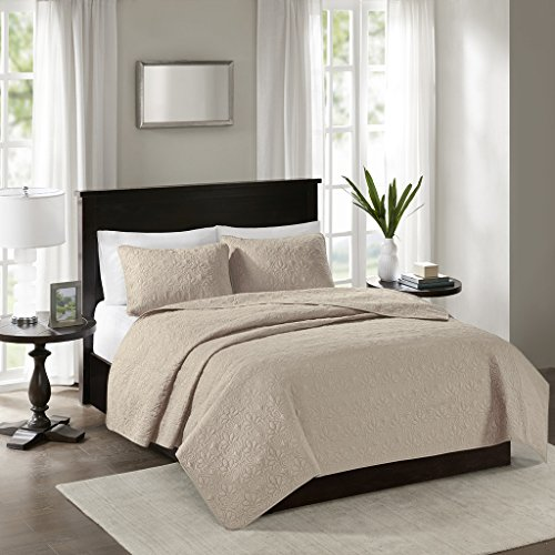 Madison Park Quebec Dusty Pale Khaki 3-Piece Quilted King Coverlet Set—For King or Cal King Bed –Ideal For Warm Climate Room Décor or Add-on For Extra Warmth (King Bedding)