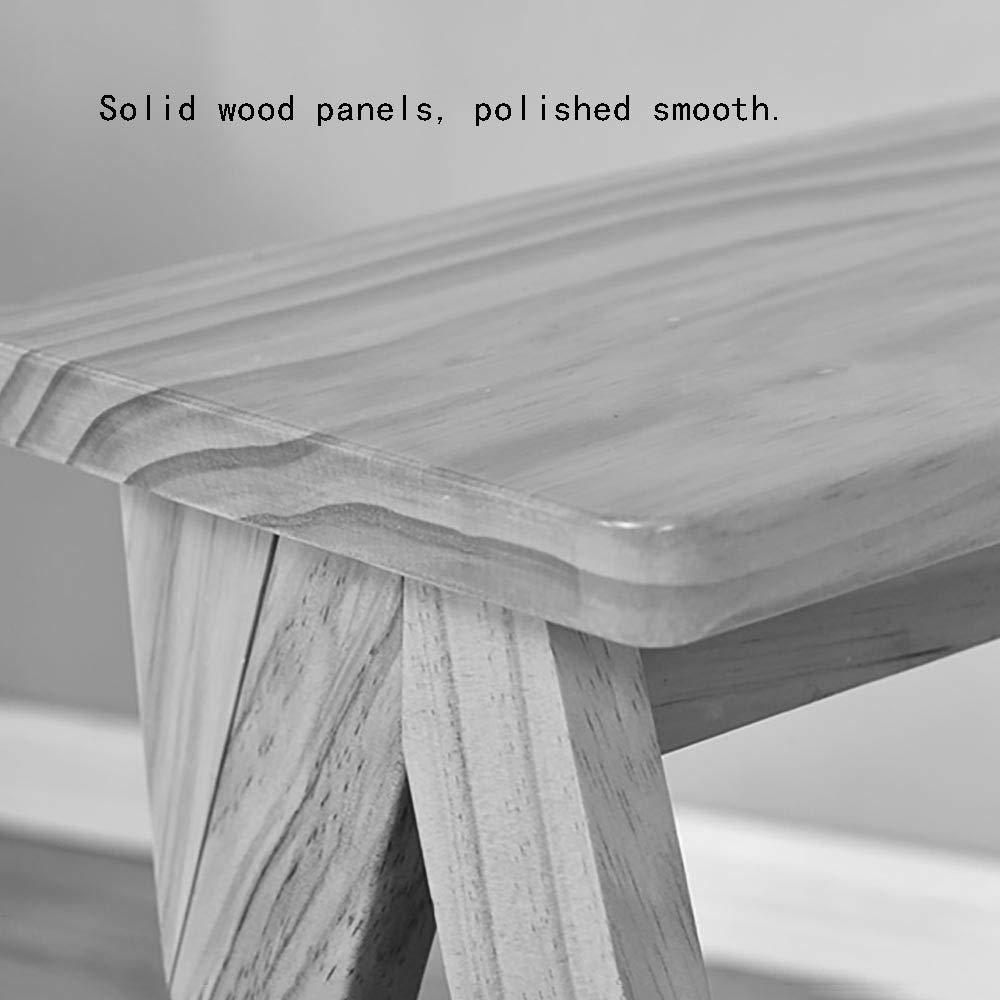 Tabouret multifonctionnel portatif simple Blanc Petite /échelle pliable Mempers Escabeau en bois massif 42 /× 48 /× 64cm couleur fonc/ée couleur du bois Peut supporter 100 kg