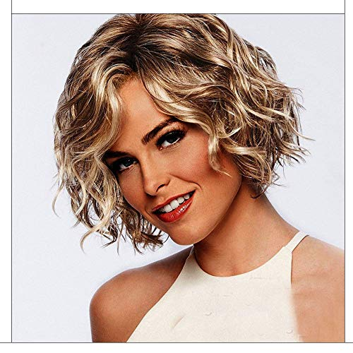 Aviat New Short Hair Wigs Gold Wavy Curly Parting High Temperature Fiber Hair Replacement Wig for Party/Halloween/Cosplay/Daily -