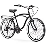 sixthreezero Around The Block Men's 21-Speed Cruiser Bicycle, Matte Black w/ Black Seat/Grips, 26'...