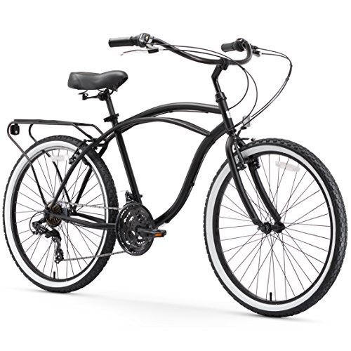 sixthreezero Around The Block Men's 21-Speed Cruiser Bicycle, Matte Black w/ Black Seat/Grips, 26' Wheels/19' Frame