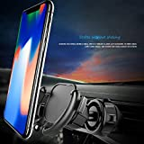 Glumes Car Phone Mount Air Vent Holder for Easier Navigation GPS,Never Fall Off Easy Installtion, Wire Holder Cable Clip for iPhone 7/7 Plus 8/8 Plus/X (Black)