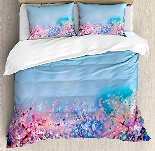 Cherry Bed Natural (YOLIKA Flower 4 Pieces Bed Sheets Set Queen Size, Retro Cherry Blossom Petal Perennial Herb Botanic Habitat Natural Life Spring Season Floral Duvet Cover Set, Pink Blue)