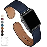 LOVLEOP Bands Compatible with Iwatch Band 42mm 44mm, Top Grain Leather Strap for iWatch Series 4 Series 3 Series 2 Series 1 (Jewelry Blue+ Black Connector, 42mm 44mm)