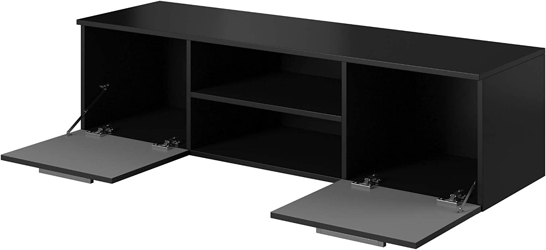 Chipboard//MDF Black E-com TV Unit Cabinet Stand Lowboard 140 cm