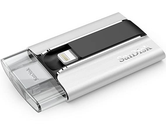 SanDisk iXpand 16GB USB 2.0 Flash Drive With Lightning Connector for Apple Device (SDIX-016G-G57) Pen Drives at amazon