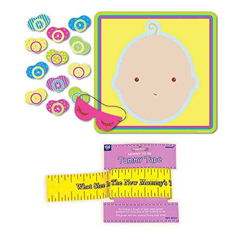 Baby Shower Game Bundle | Beistle Pin the Pacifier Game and Amscan Delightful Tummy Tape Measure Game (Printable Halloween Bingo Games)