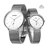 Jiusko Sapphire - His Her Slim Quartz Wrist Watch - Steel Mesh - 393 (Couple - Silver)
